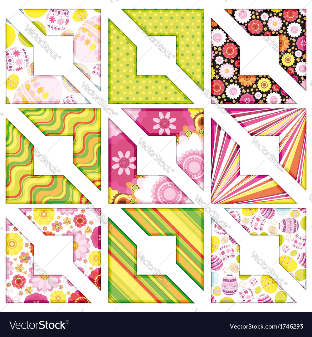 Easter set of corner design elements vector | Price: 1 Credit (USD $1)