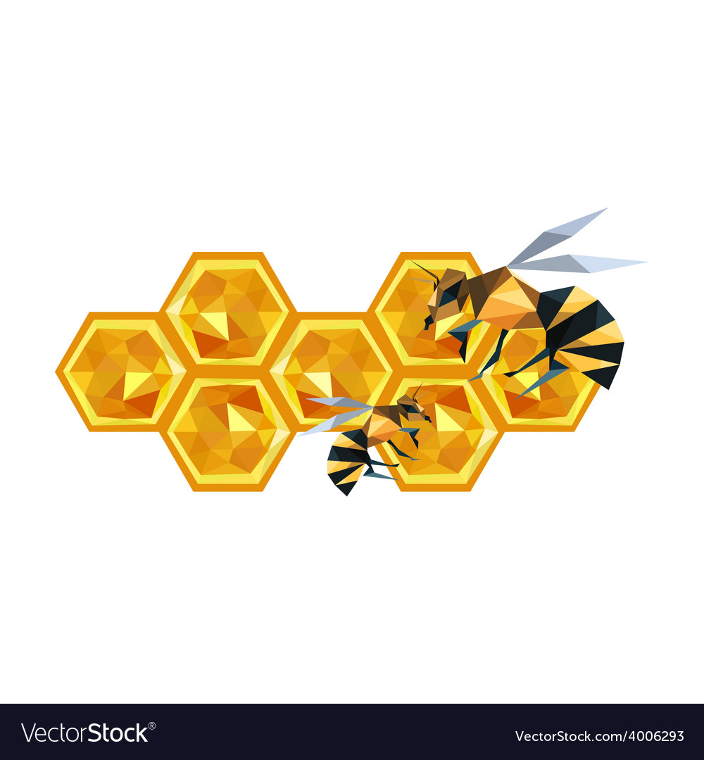 Origami honeycomb design and bees vector | Price: 1 Credit (USD $1)