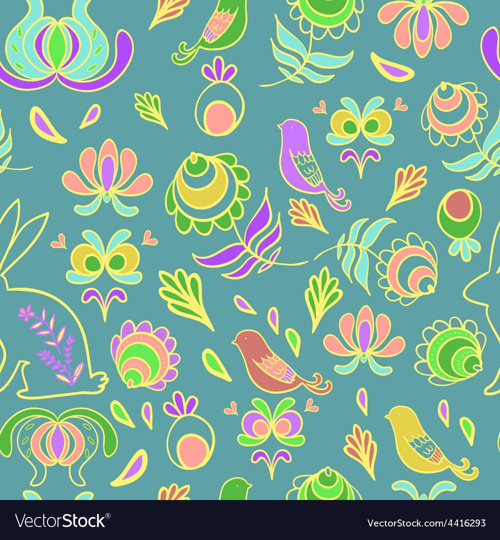 Rabbit in spring garden blue seamless pattern vector | Price: 1 Credit (USD $1)
