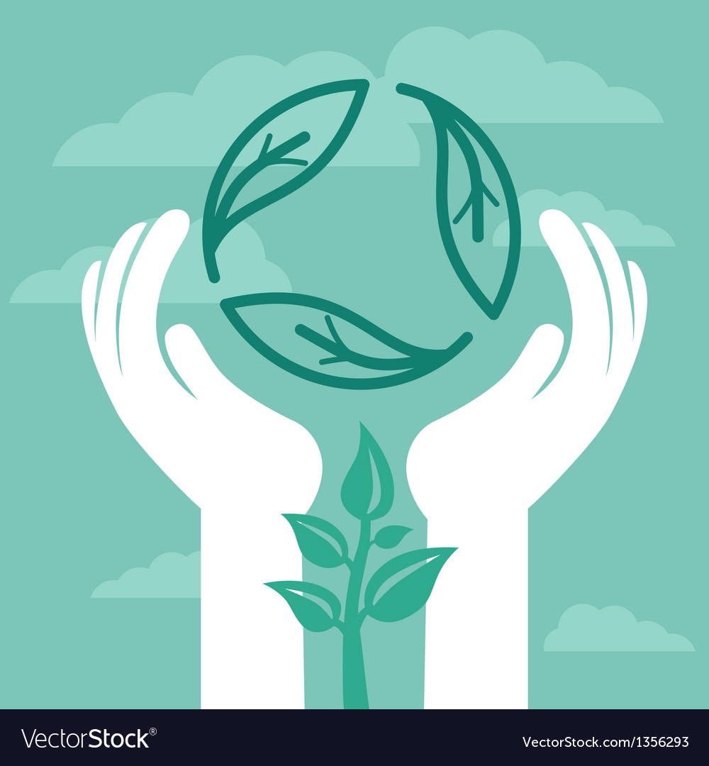 Recycle emblem with human hands vector   Price: 1 Credit (USD $1)