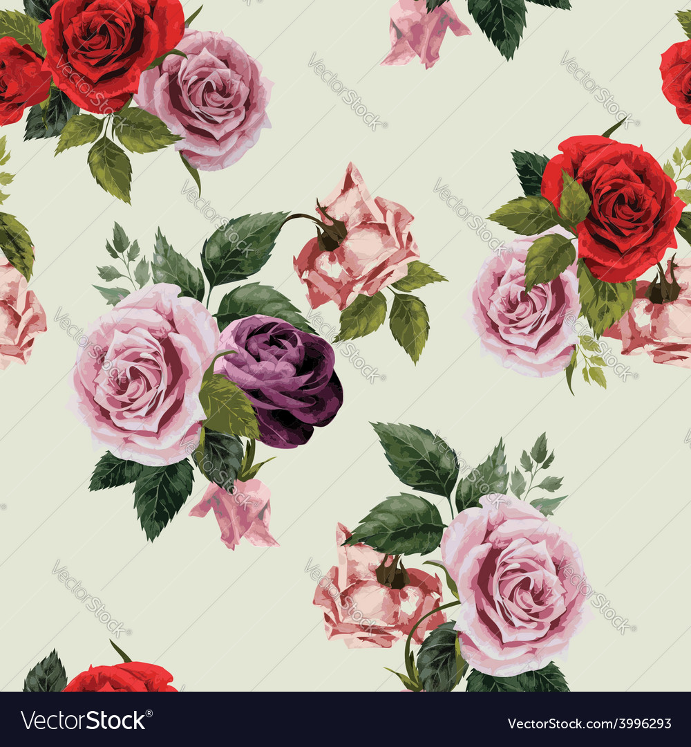 Seamless floral pattern with red purple and pink vector | Price: 1 Credit (USD $1)