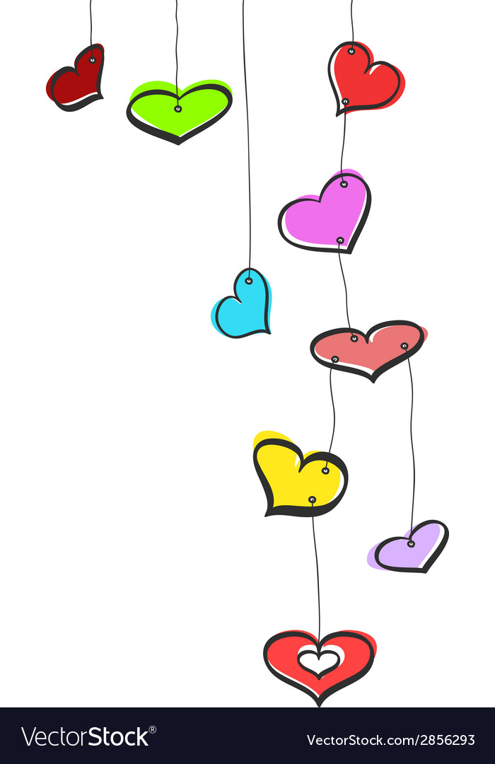 Sketch hanging hearts vector | Price: 1 Credit (USD $1)
