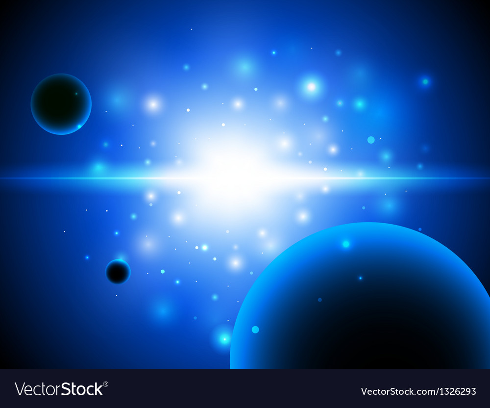 Space background with stars and planet vector | Price: 1 Credit (USD $1)