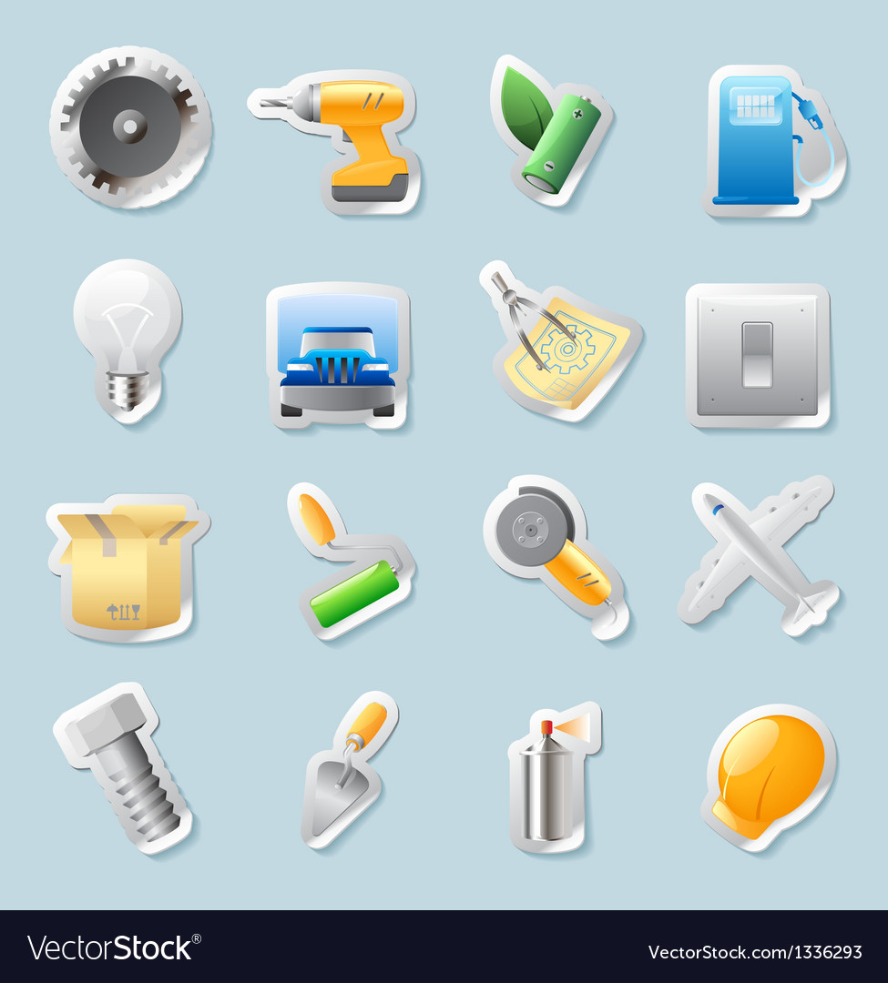 Sticker icons for industry vector