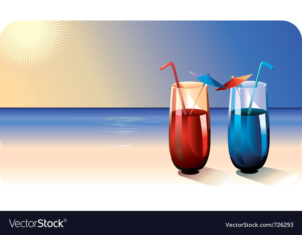 Two cocktails on summer beach vector | Price: 3 Credit (USD $3)