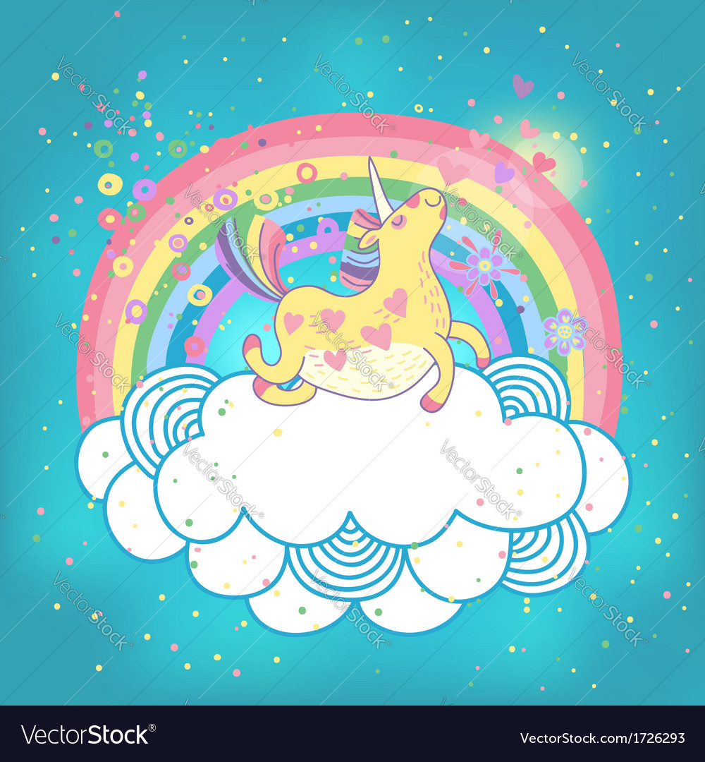 Unicorn rainbow in the clouds vector | Price: 1 Credit (USD $1)