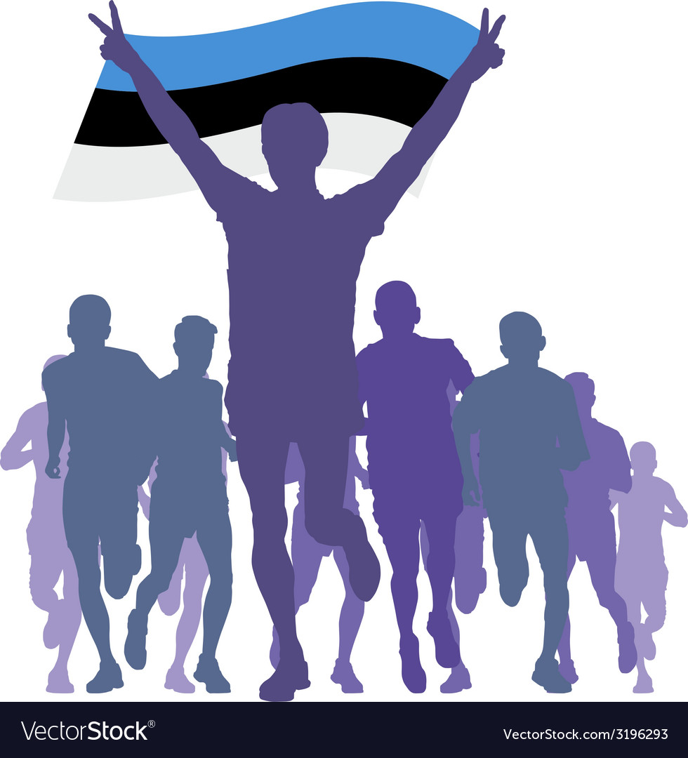 Winner with the estonia flag at the finish vector | Price: 1 Credit (USD $1)