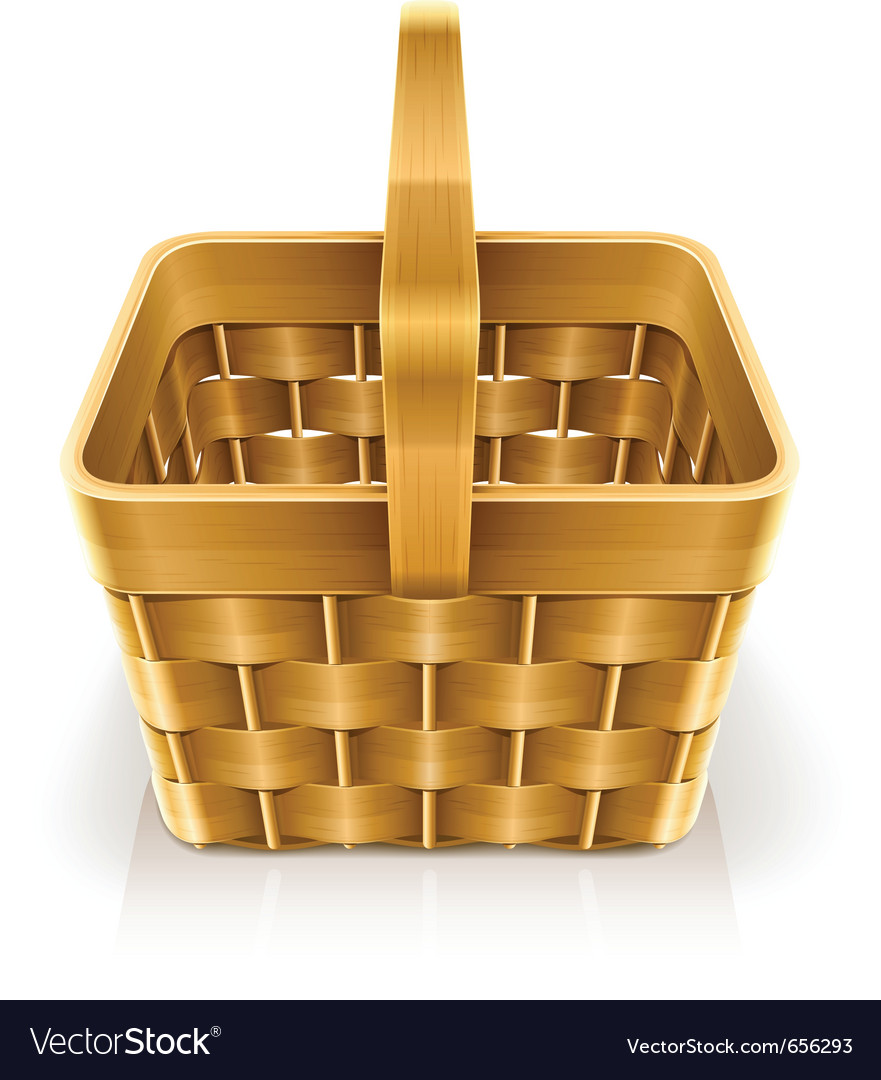 Wooden weave basket vector | Price: 3 Credit (USD $3)