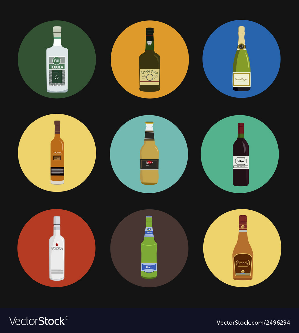 Alcohol drinks bottles icon set vector | Price: 1 Credit (USD $1)