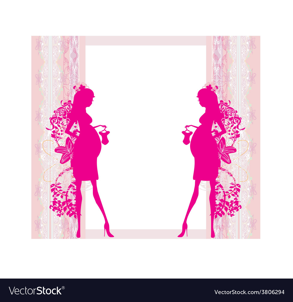 Beautiful pregnant woman on shopping - card vector | Price: 1 Credit (USD $1)