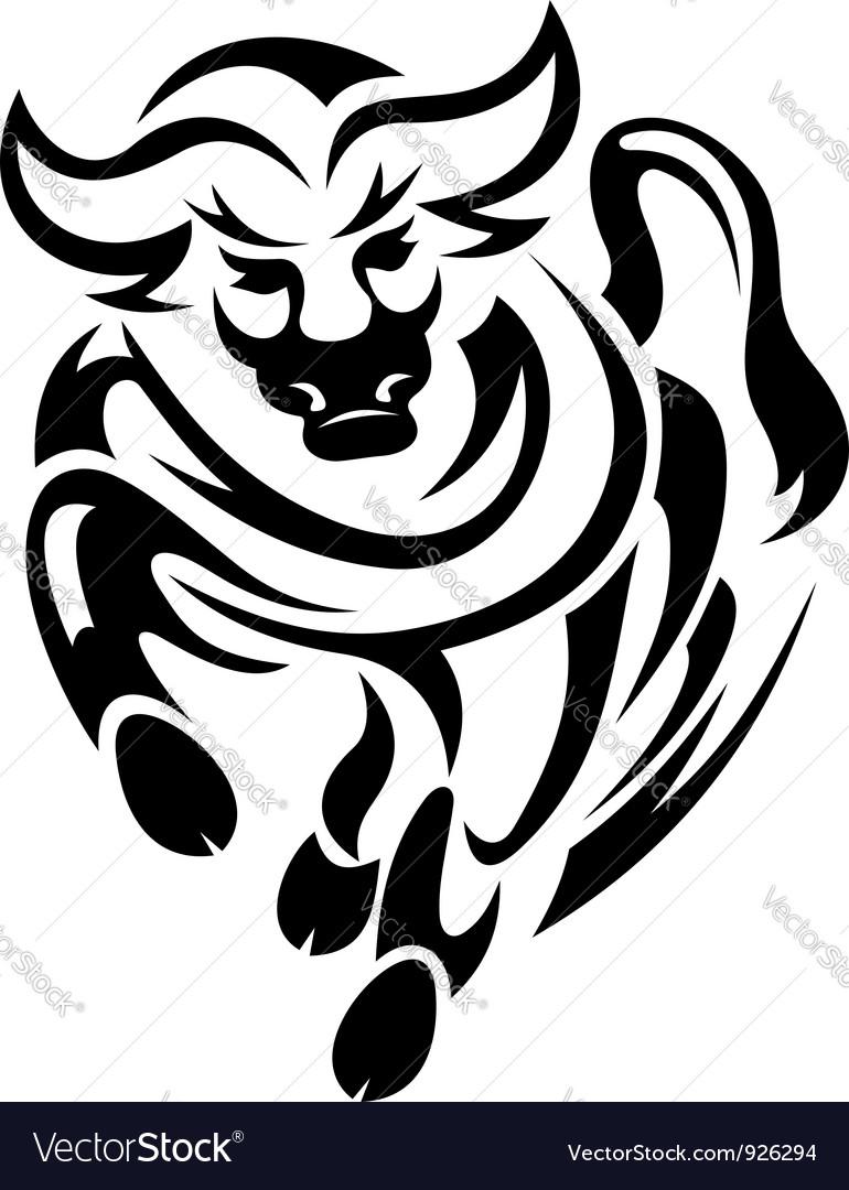 Black bull in tribal style vector | Price: 1 Credit (USD $1)
