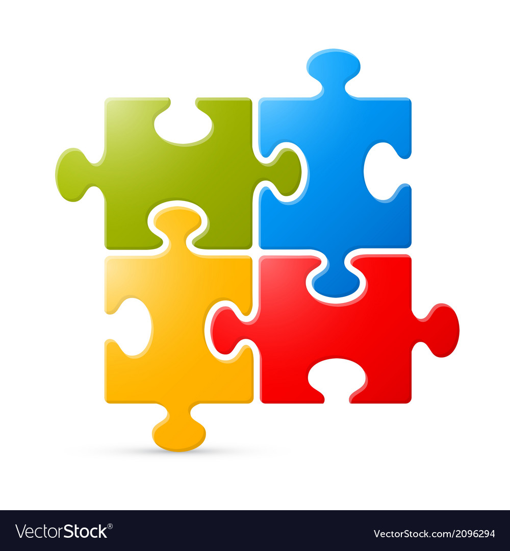 Colorful puzzle on white background vector | Price: 1 Credit (USD $1)