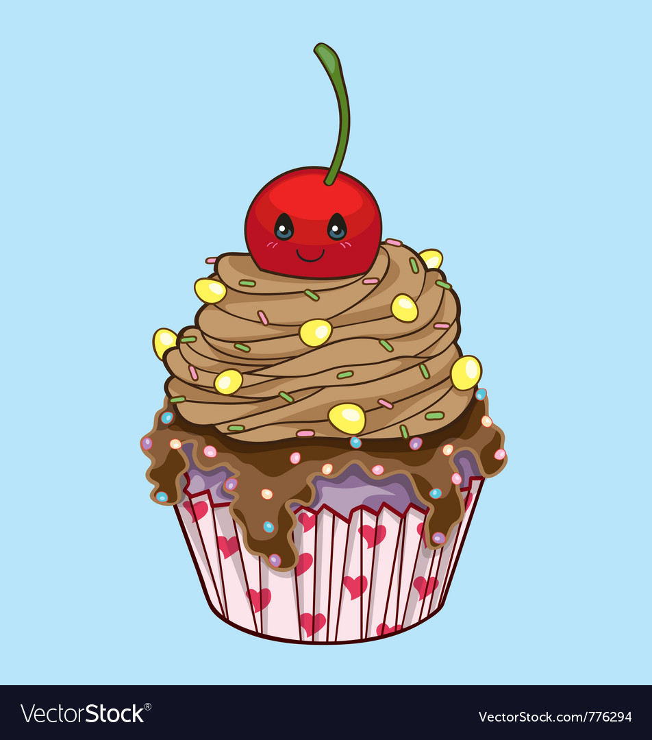 Cute cupcake vector | Price: 3 Credit (USD $3)