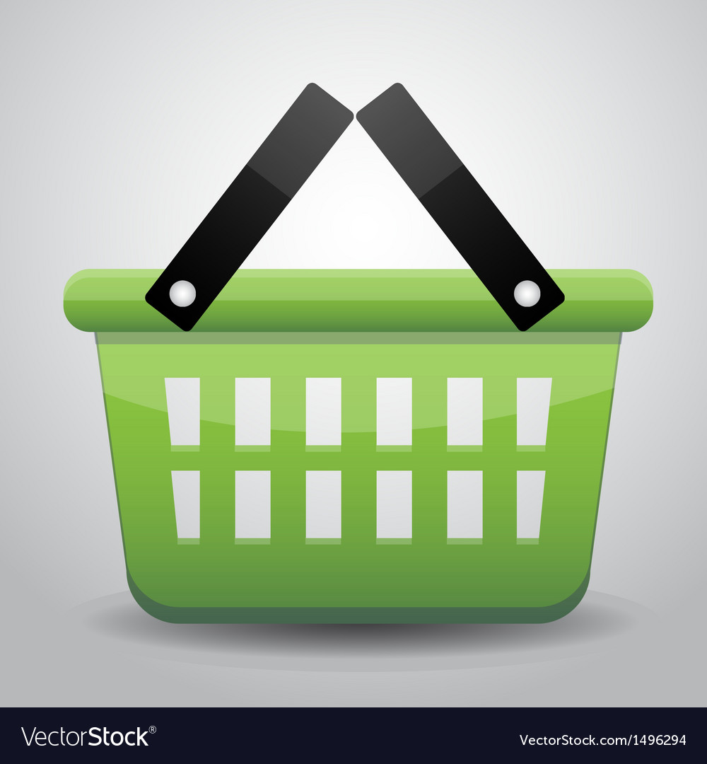 Green basket shopping vector | Price: 1 Credit (USD $1)