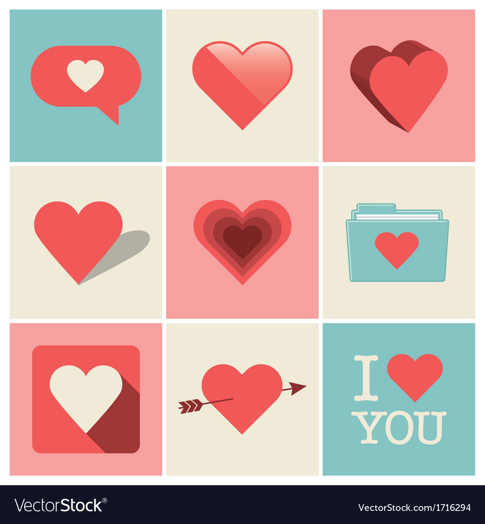 Heart icons set one vector