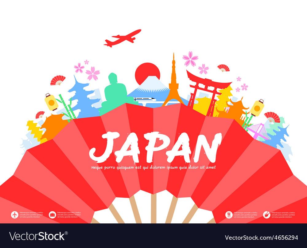 Japan travel landmarks vector | Price: 3 Credit (USD $3)