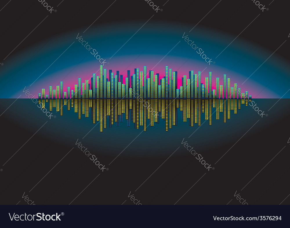 Night city reflected vector | Price: 1 Credit (USD $1)