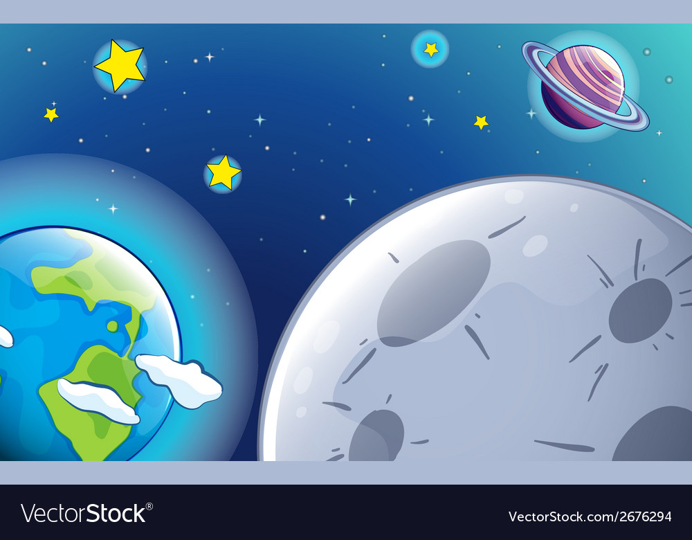 Planets and starss in the sky vector | Price: 1 Credit (USD $1)