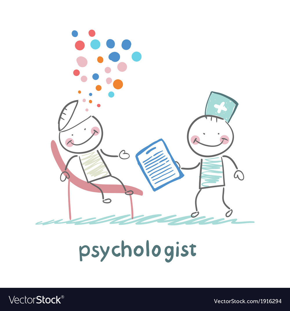 Psychologist with a folder and the patients head vector | Price: 1 Credit (USD $1)