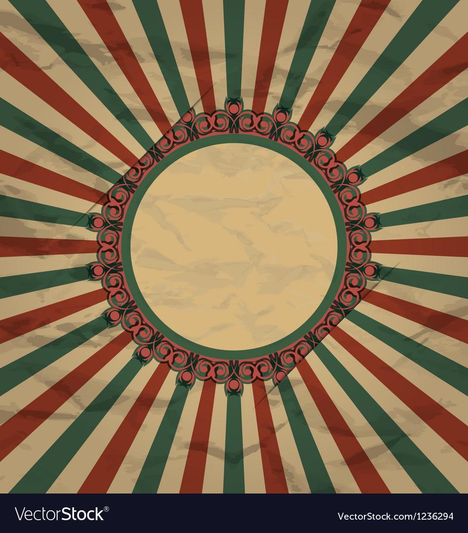 Retro vintage grunge label on sun rays background vector   Price: 1 Credit (USD $1)