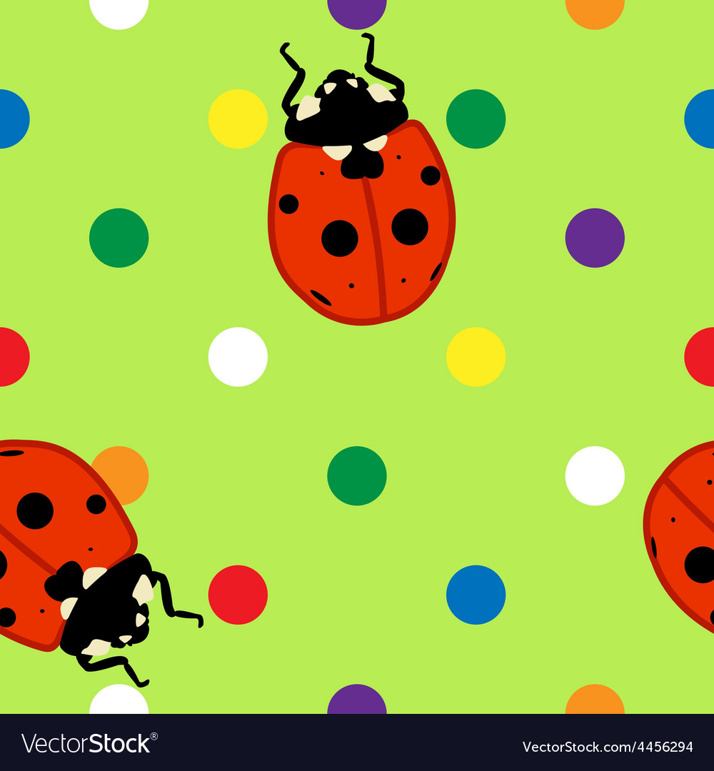 Seamless ladybugs over green background vector | Price: 1 Credit (USD $1)