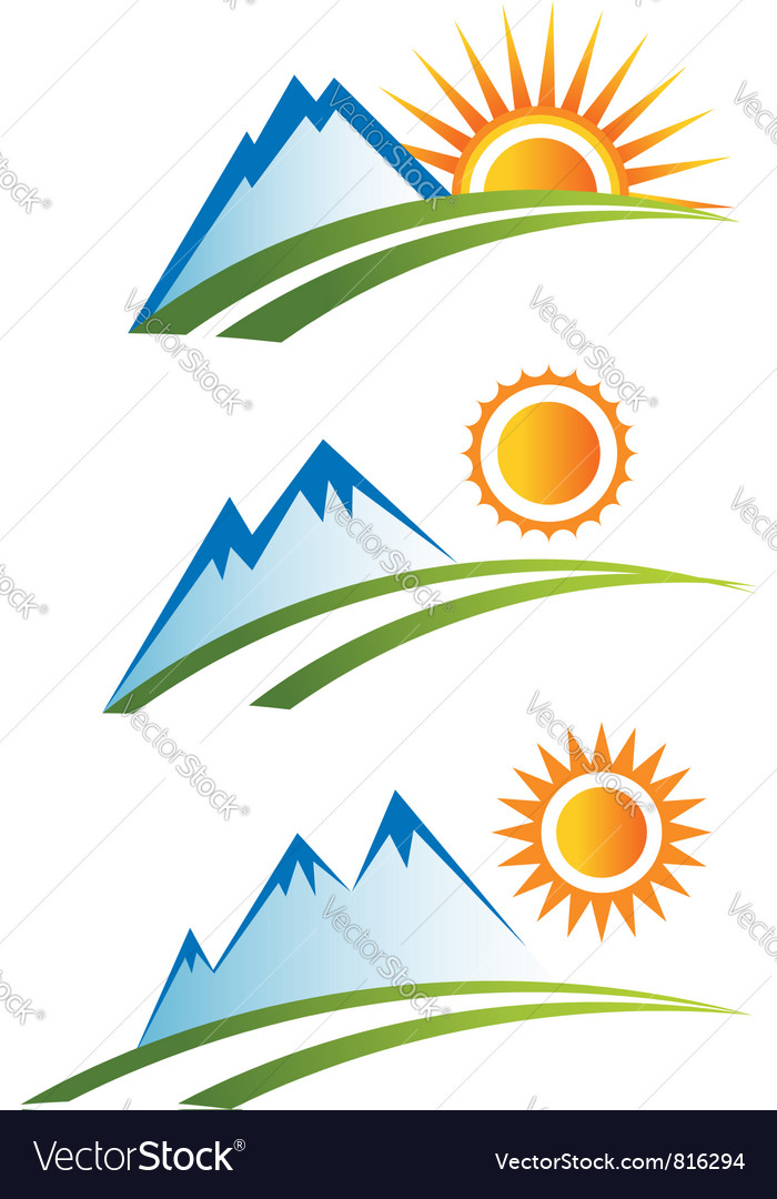 Set of mountain with sun vector | Price: 1 Credit (USD $1)