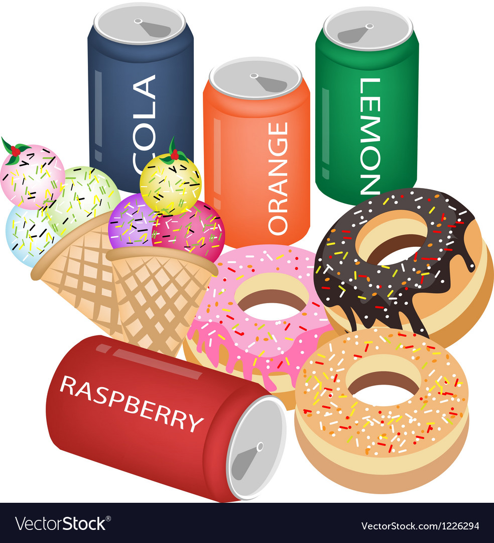 Set of refreshing soda drinks and sweet food vector | Price: 3 Credit (USD $3)