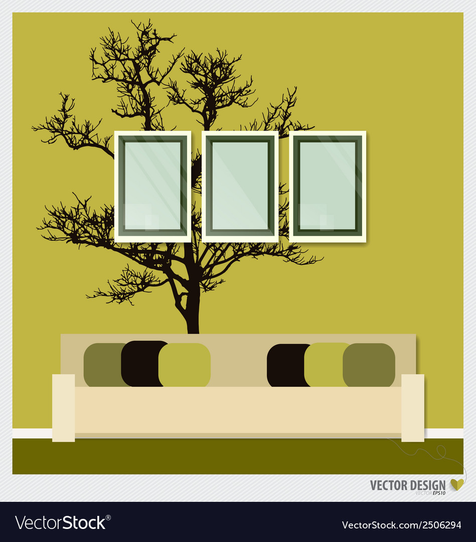 Three empty frames on a wall and decorative wall vector   Price: 1 Credit (USD $1)