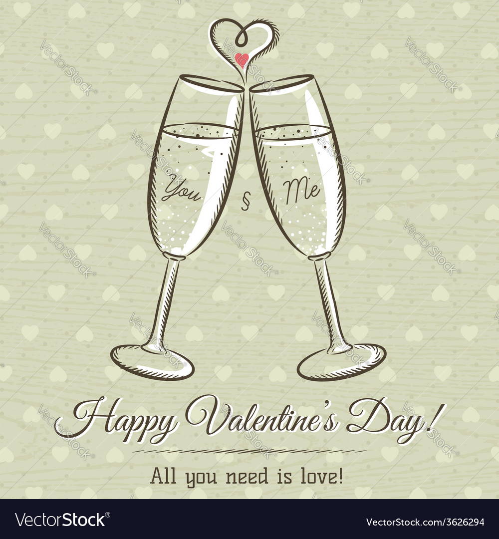 Valentine card with two glass of wine vector | Price: 1 Credit (USD $1)
