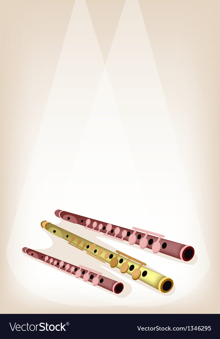 A musical flute on brown stage background vector | Price: 1 Credit (USD $1)