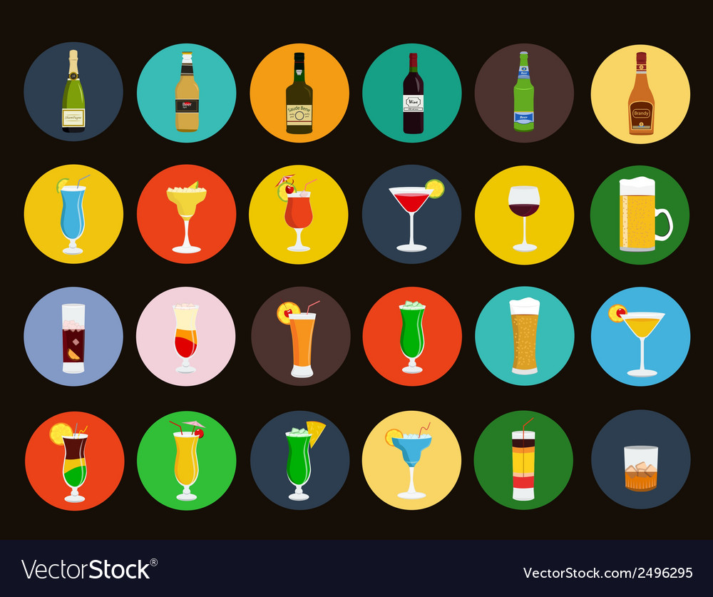 Alcohol drinks icon set vector | Price: 1 Credit (USD $1)