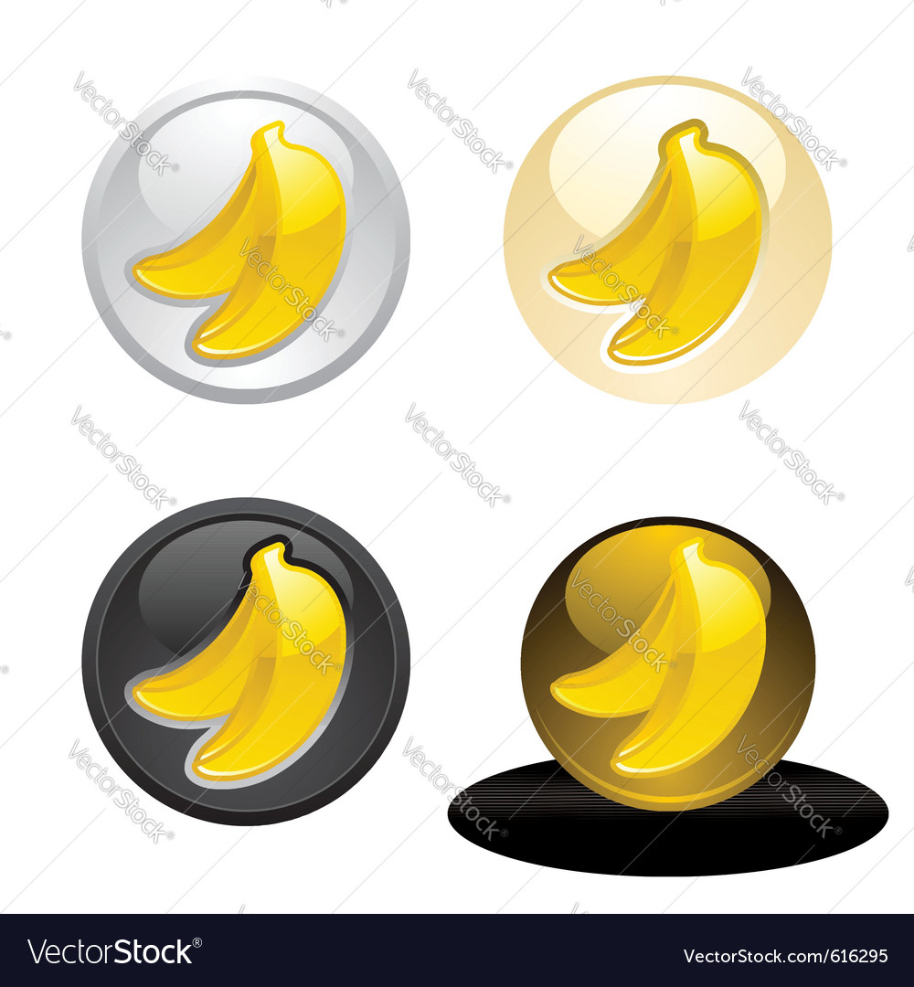 Banana button set web 20 icons vector | Price: 1 Credit (USD $1)