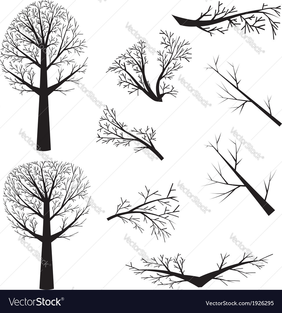 Bare trees silhouette vector | Price: 1 Credit (USD $1)