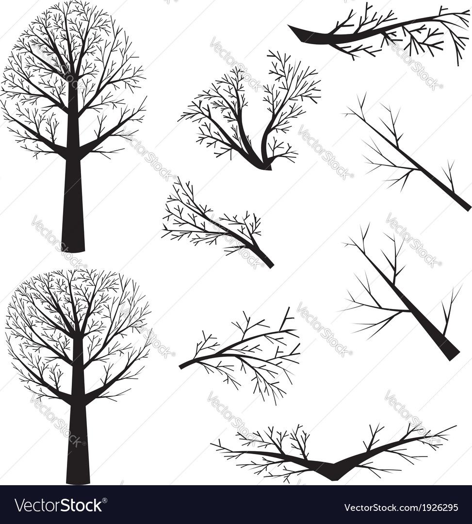 Bare trees silhouette vector | Price: 1 Credit (USD $1)