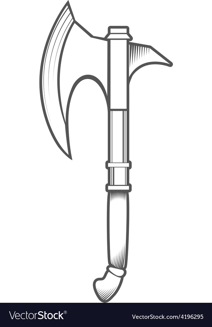 Battle axe isolated on white background vector | Price: 1 Credit (USD $1)