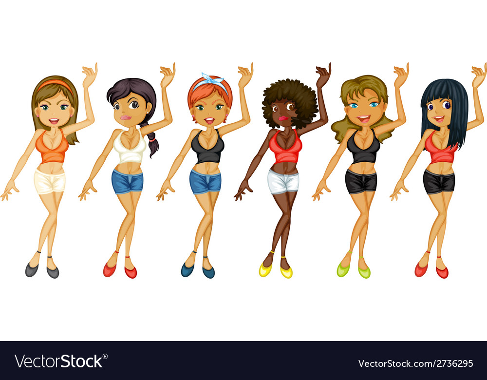 Different girls dancing vector | Price: 1 Credit (USD $1)