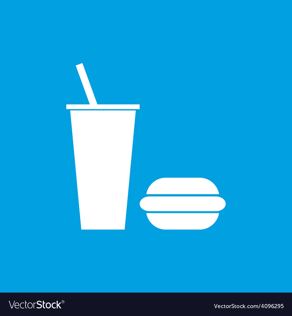 Fast food white icon vector | Price: 1 Credit (USD $1)