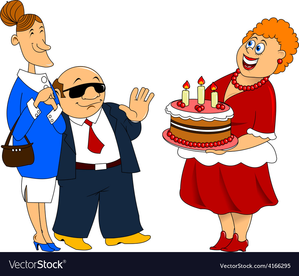 Fat cartoon woman with cake vector | Price: 1 Credit (USD $1)