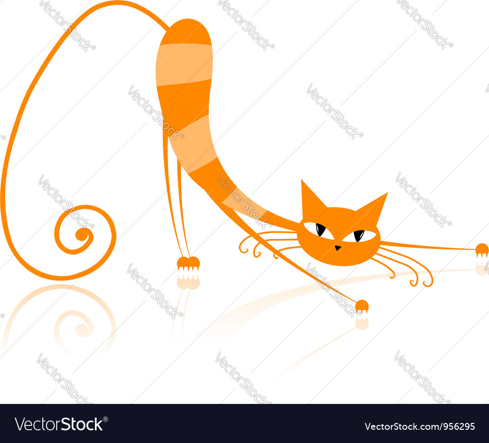 Graceful orange striped cat for your design vector | Price: 1 Credit (USD $1)