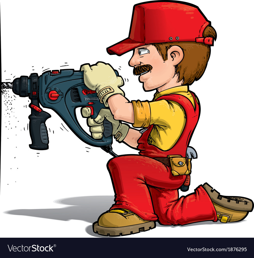 Handyman drilling red vector | Price: 3 Credit (USD $3)
