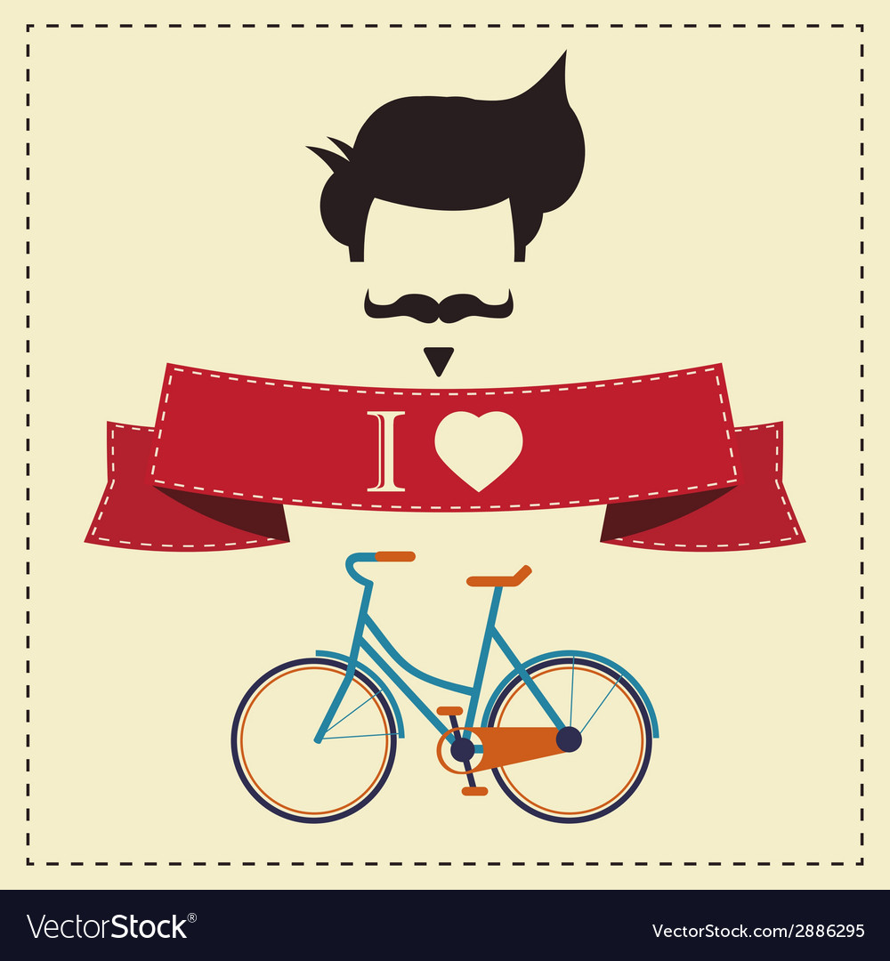 I love hipster vintage hair style mustache and vector | Price: 1 Credit (USD $1)