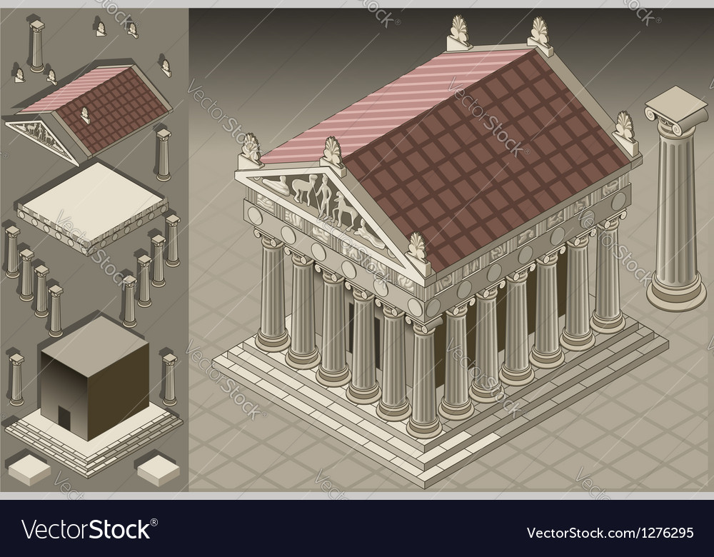 Isometric greek temple ionic architecture vector | Price: 1 Credit (USD $1)
