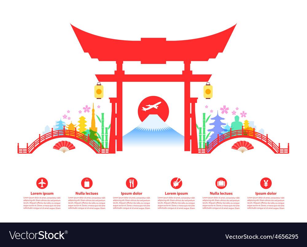 Japan travel landmarks vector | Price: 1 Credit (USD $1)