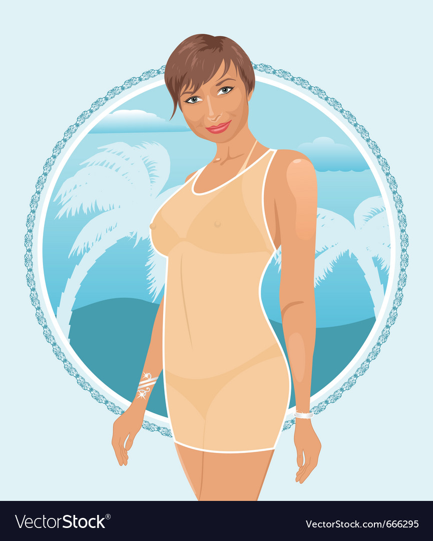 Pretty summer girl vector | Price: 3 Credit (USD $3)