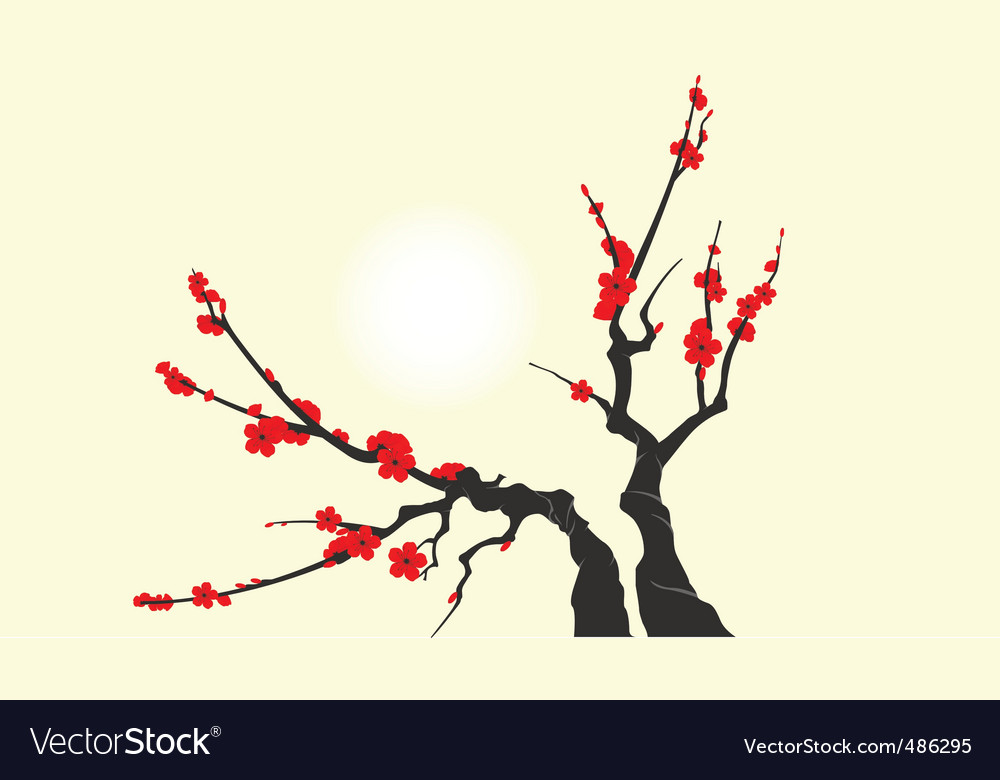 Sakura blossom branch vector | Price: 1 Credit (USD $1)