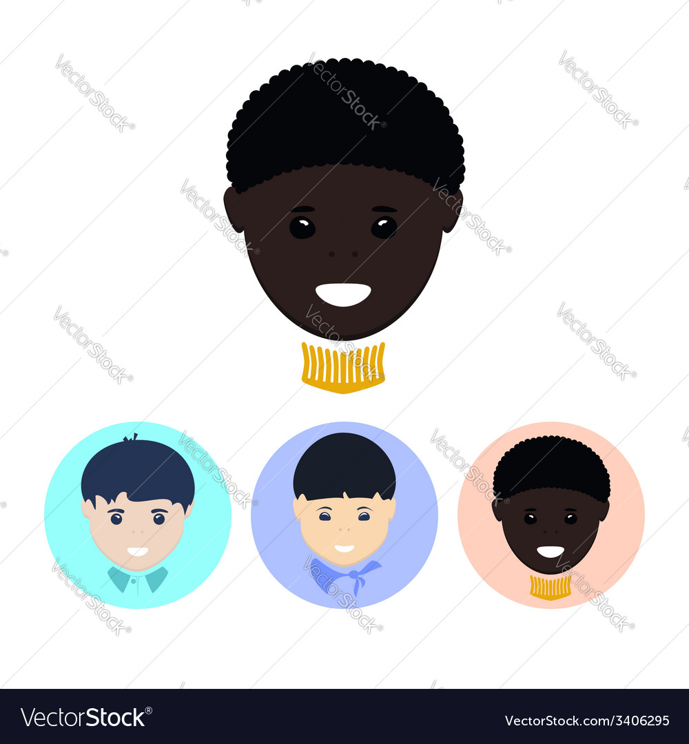 Set of icons with faces of boys vector | Price: 1 Credit (USD $1)