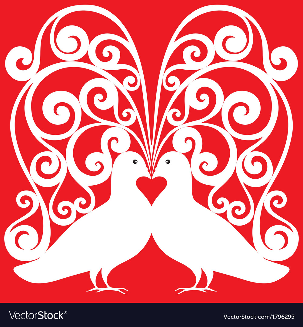 Whitekissing doves heart symbol love concept vector | Price: 1 Credit (USD $1)