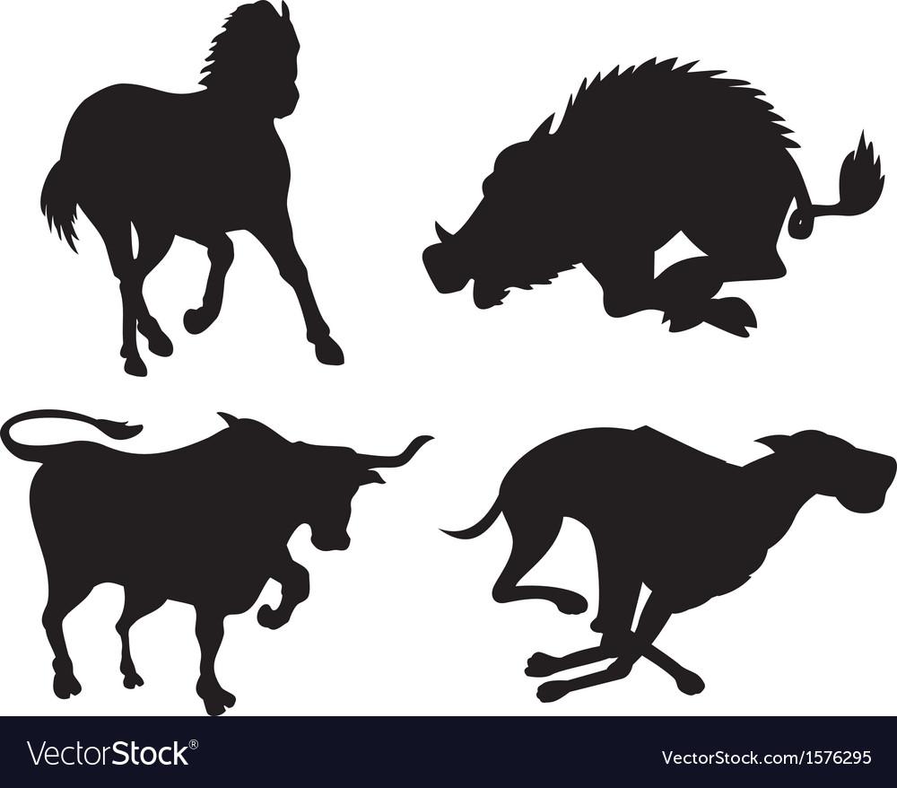 Wildlife silhouettes vector | Price: 1 Credit (USD $1)