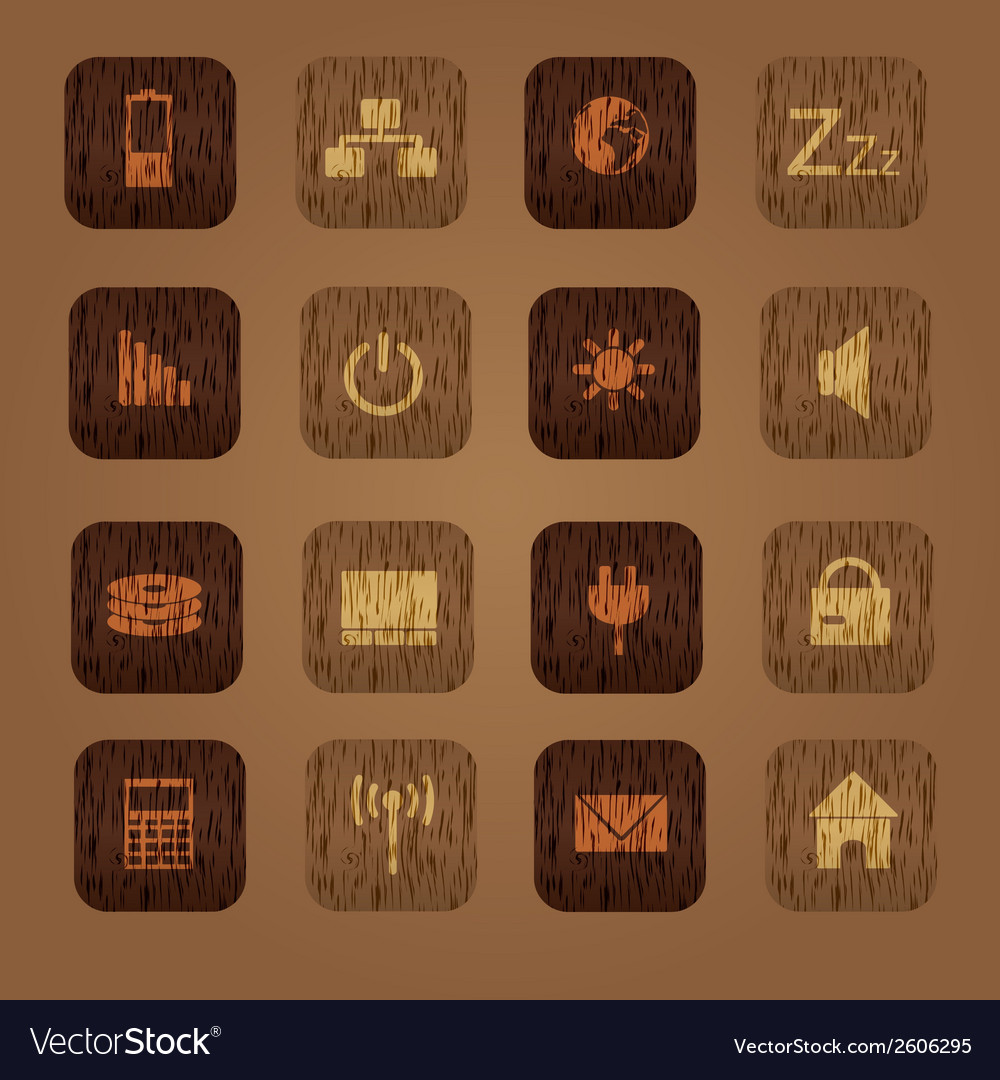 Wood texture computer buttons eps10 vector | Price: 1 Credit (USD $1)