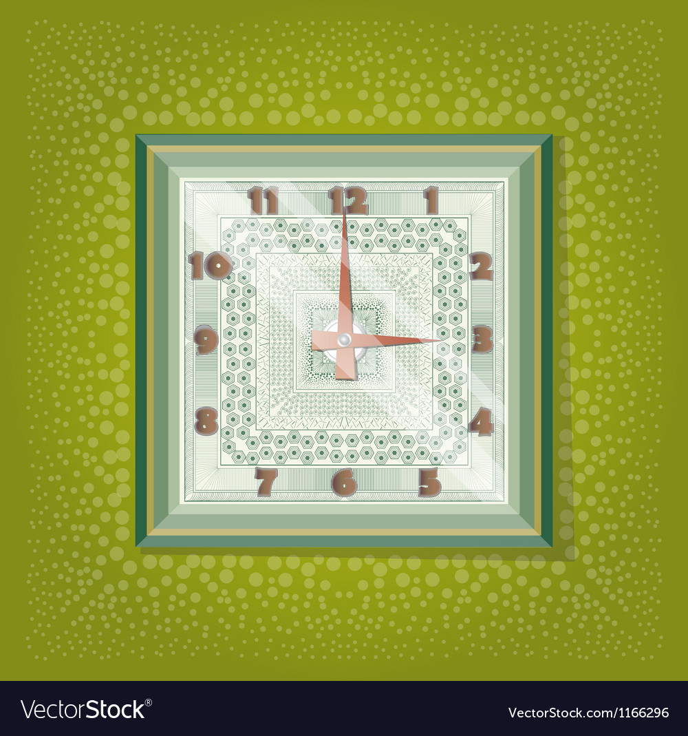 Clocks with pattern in green background vector   Price: 1 Credit (USD $1)